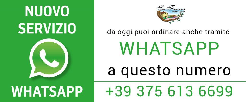 BANNER per nuovo servizio whatsapp per aquistare i tuoi prodotti bio